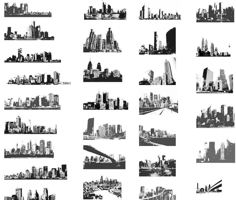 道路 高楼 高楼大厦 黑白 剪影 建筑 建筑家居 超全黑白建筑剪影矢量