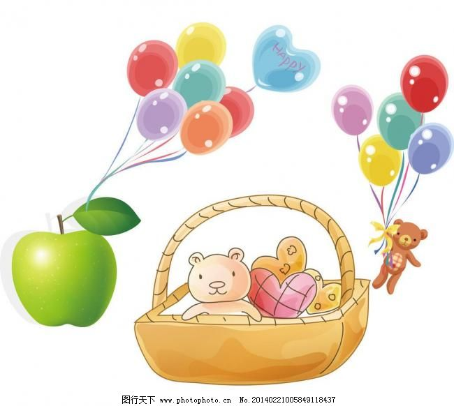 卡通气球素材 青苹果 水果 绿色 叶子 小熊 心形气球 篮子 点心 卡通