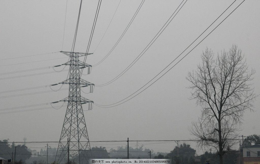 电线塔 天空 电线 树木