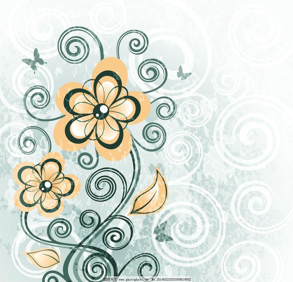 手绘花纹 花纹 精美花纹 蝴蝶 植物花纹 花卉 豪华背景 欧式花纹 欧式