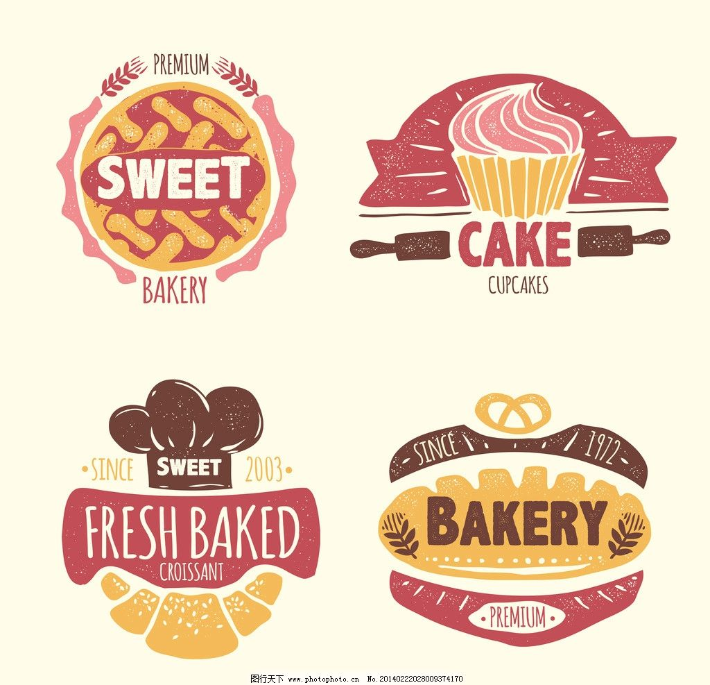 面包 小麦 麦穗 面包微章 标签 贴纸 商标 品牌 微章 纹章 欧式 古代