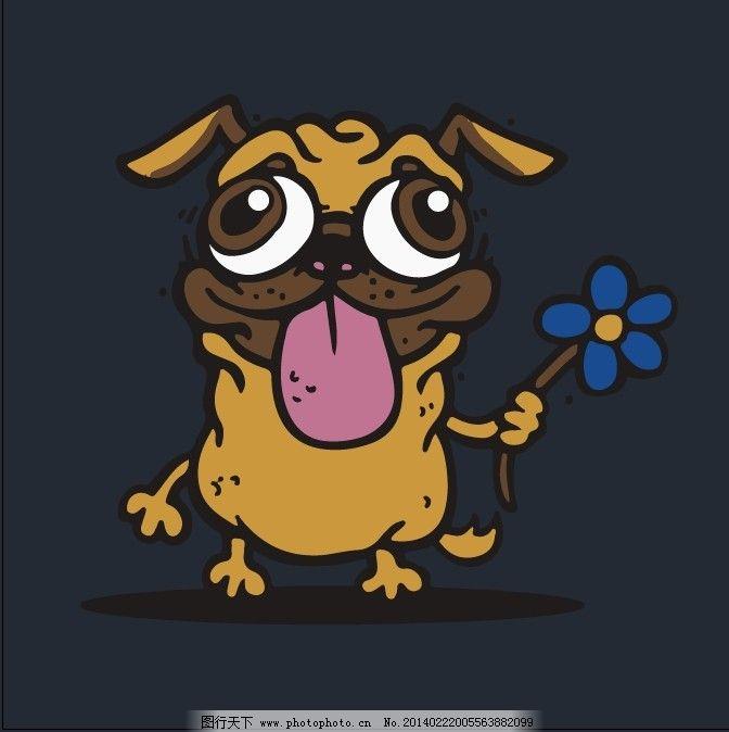 狗 植物 花朵 狗免费下载 动物 卡通 印花矢量图