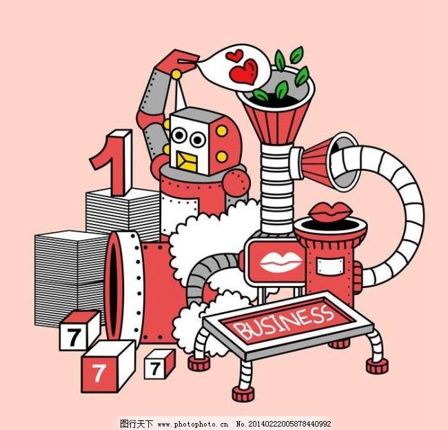 红色卡通机器人免费下载 机械 矢量素材 未来 红色机器人