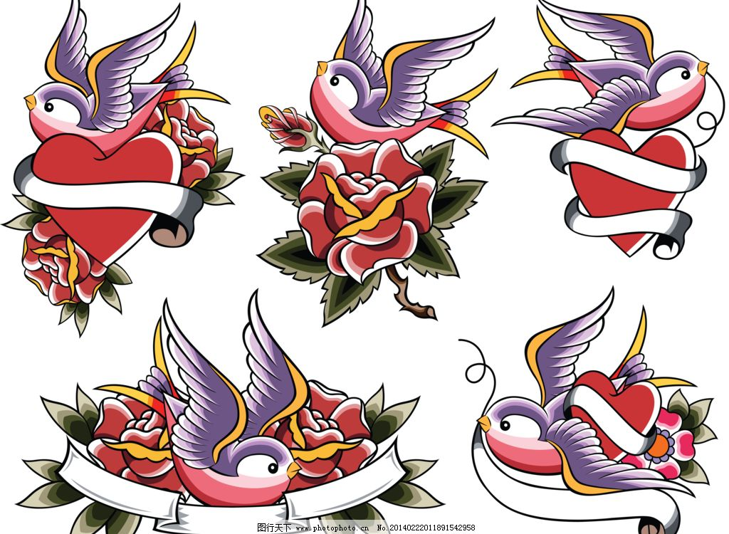 古典 古典花纹 花边 花纹背景 花纹墙纸 燕子和玫瑰设计素材 燕子和