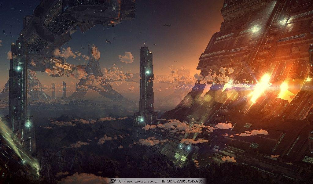 科幻主题背景 科幻 未来 城市 飞船 背景 风景漫画 动漫动画 设计 96