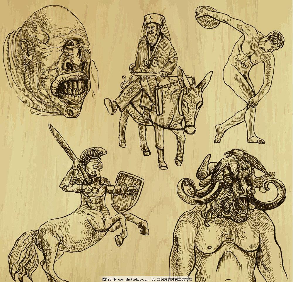 手绘插图 手绘人物 武士 牛头魔鬼 美术绘画 文化艺术 人物矢量素材
