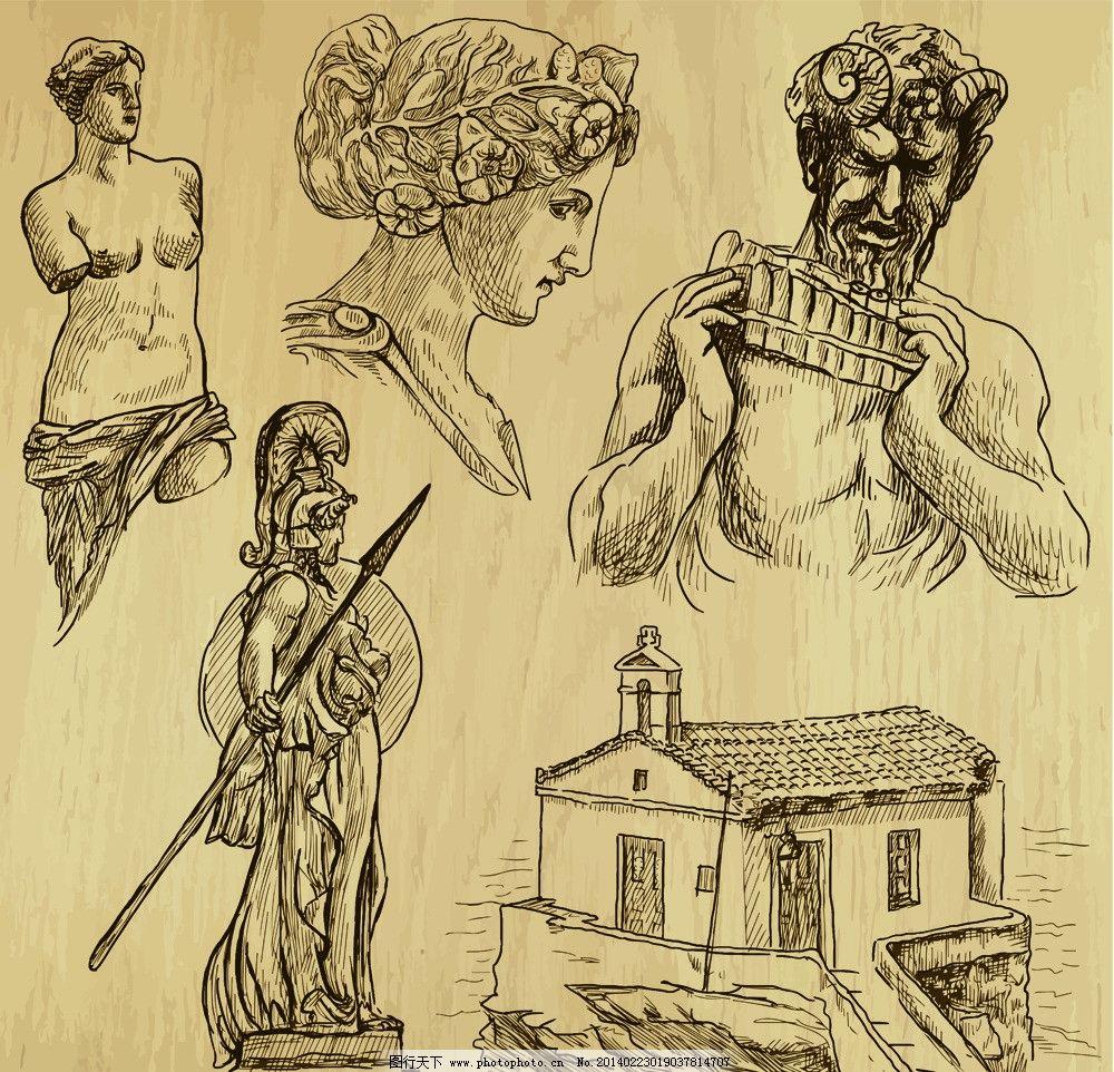手绘插图图片,手绘人物 雕塑 建筑 武士 美术绘画-图