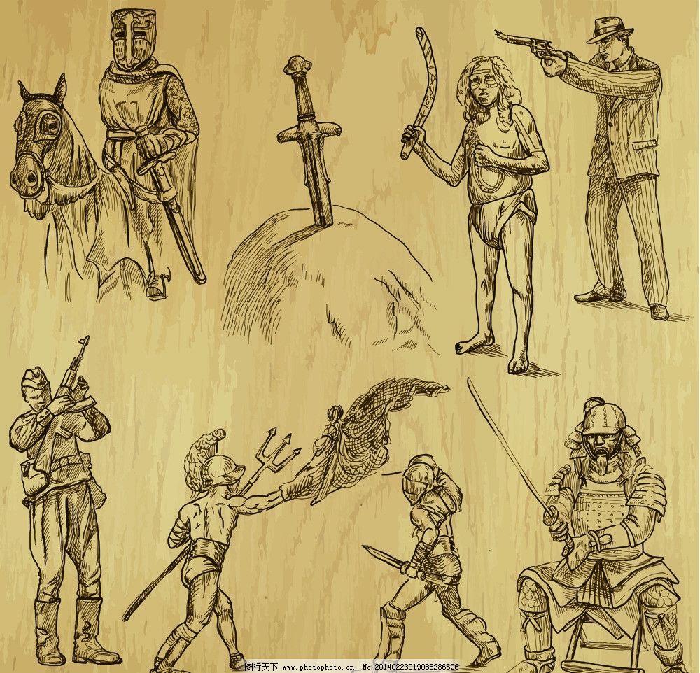 手绘人物 手绘插图 士兵 武士 美术绘画 文化艺术 人物矢量素材 矢量
