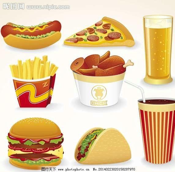 设计图库 环境设计 装饰画  快餐设计 薯条 披萨 炸鸡块 热狗 肯德基