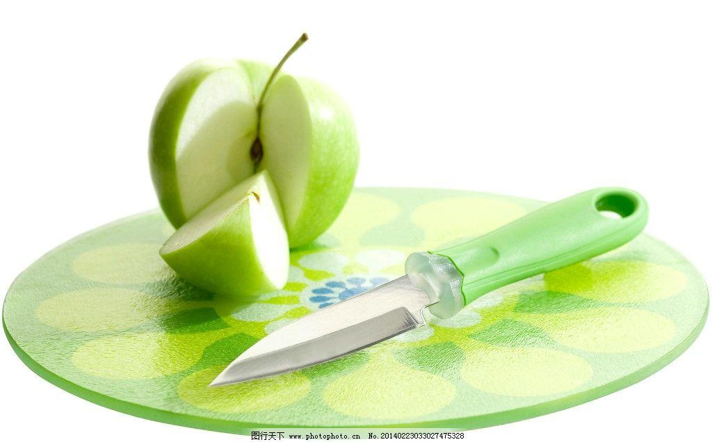 苹果 青苹果 切开 一半 刀子 切苹果 盘子 创意水果 进口水果图片