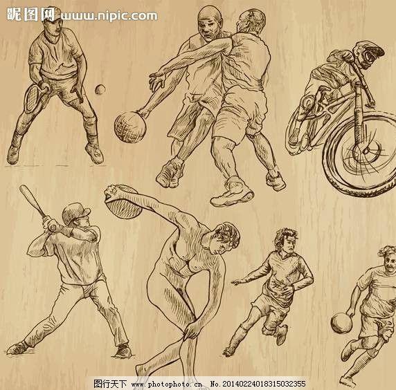 动漫卡通 动漫人物  运动员手绘设计 运动员 摩托车 铁饼 棒球 篮球