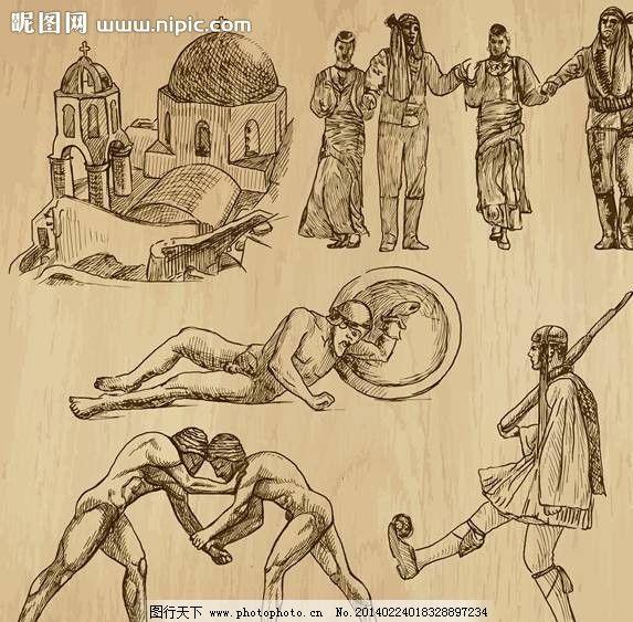 古代人物手绘设计图片