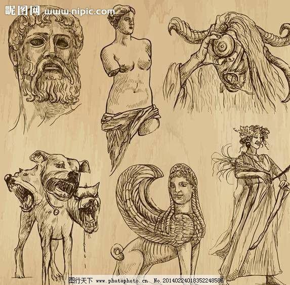 古代雕塑手绘设计 古代雕塑 雕像 塑像 大卫 维纳斯 怪物 漫画 手绘