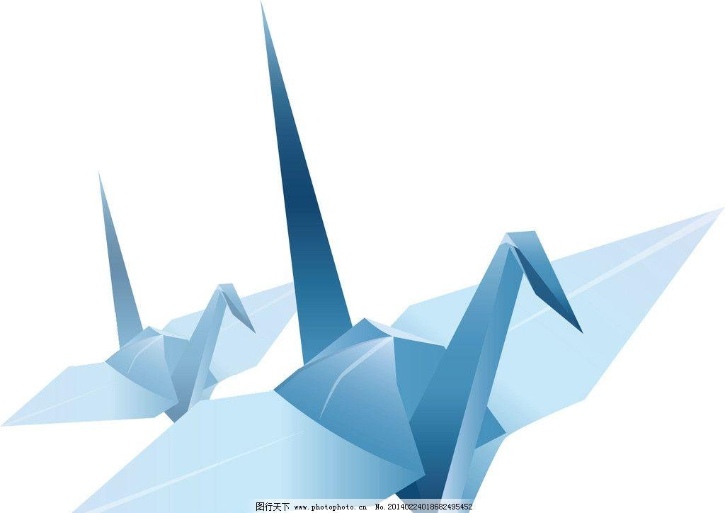 淡蓝色千纸鹤 高清 动漫动画图片