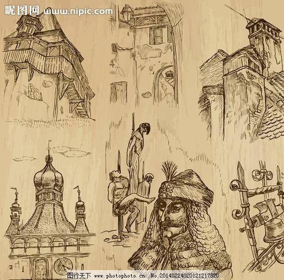 古代建筑手绘设计 古代建筑 楼房 房屋 房子 士兵 教堂 漫画 手绘