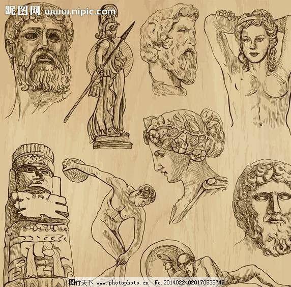 肖像手绘设计 头像 人物肖像 大卫 罗马人 古代人 欧洲人 漫画