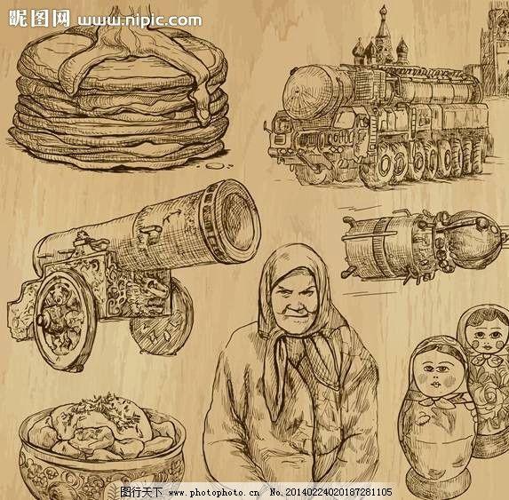 农民手绘设计 农民 俄罗斯娃娃 套娃 大炮 漫画 手绘 手稿 插画 卡通