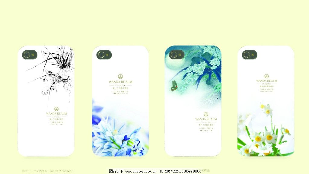iphone手机壳 白色 兰花 菖蒲 手绘 手机装饰 礼品 赠品