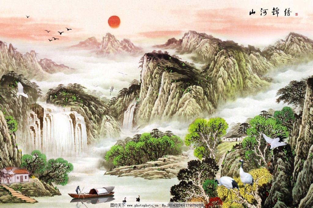 白鹭 风景 瀑布 群山 山峰 山水装饰画 室内装饰画 树木 中国风山水画