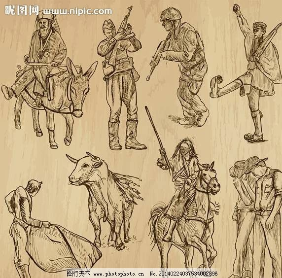古代骑士手绘设计图片