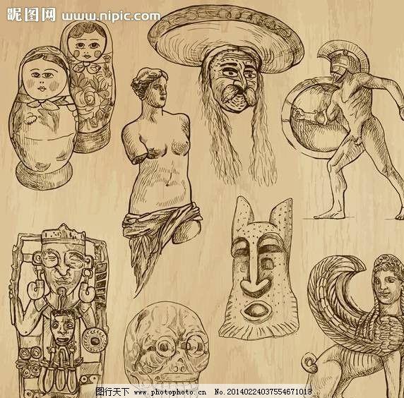 古代雕塑手绘设计图片