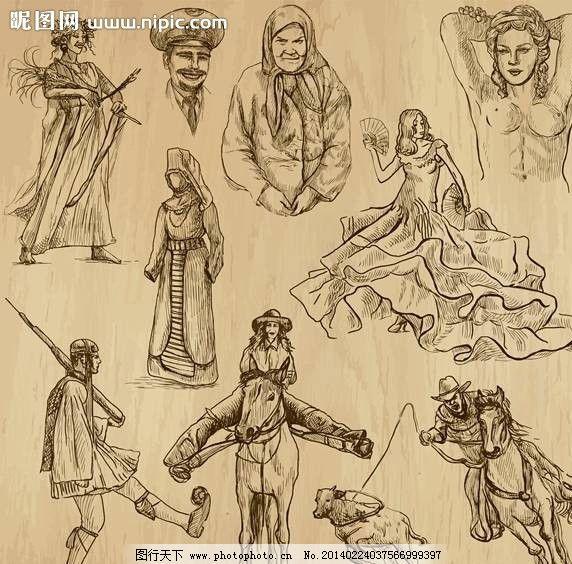 古代人手绘设计图片