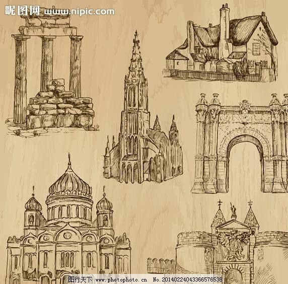 房子 欧洲建筑 教堂 古建筑 漫画 手绘 手稿 插画 卡通 素描 画画