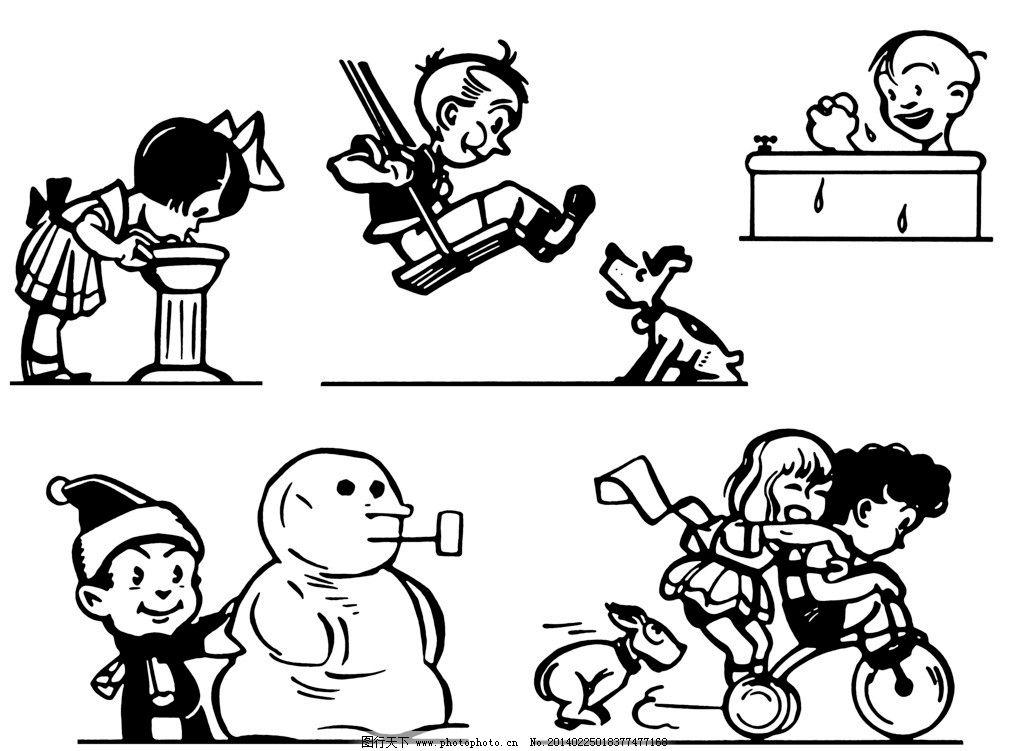 人物插图 黑白插图 商业插图 插图 插画 手绘插图 漫画 堆雪人 荡秋千