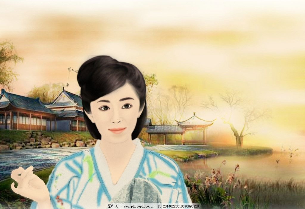 手绘古装美女 人物 古代 动漫动画