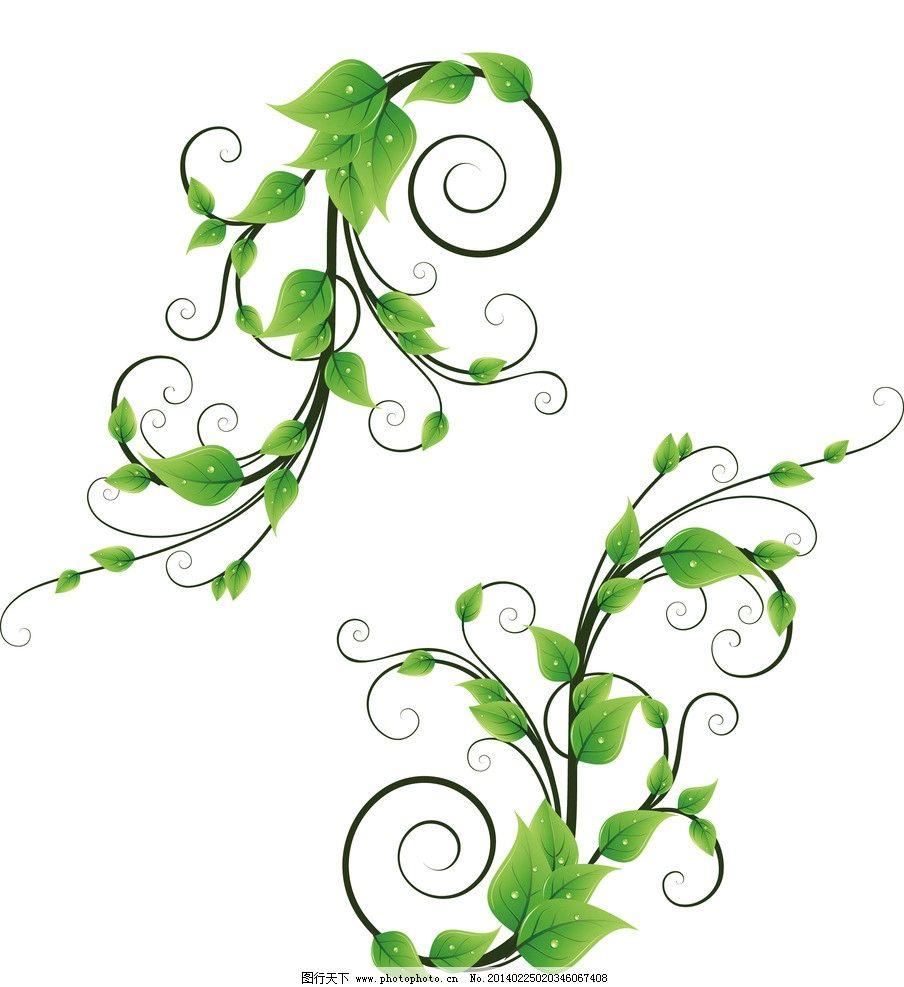 藤蔓 藤类 植物 绿叶 叶子 缠绕 动感 线条 春天 花纹 花边 矢量素材