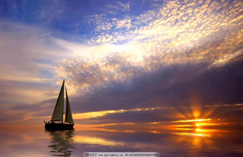 大海 帆船 夕阳 夕阳 帆船