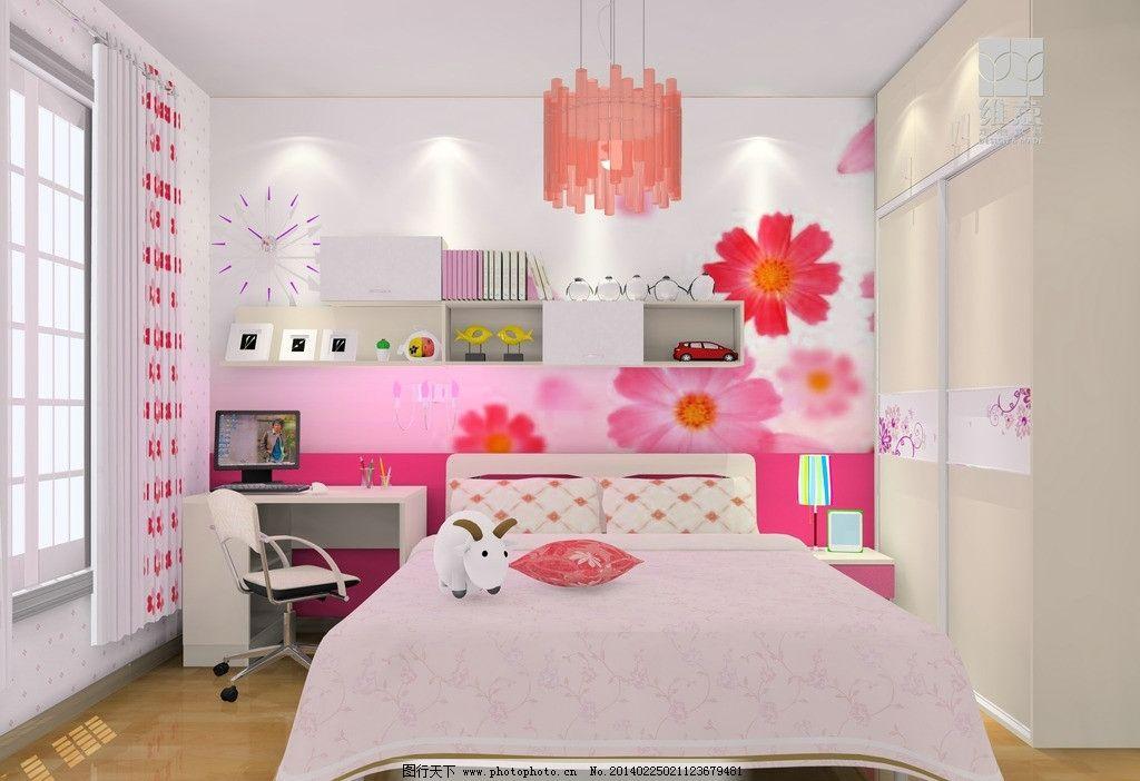 家装设计 卧室效果图 衣柜 床 背景墙 书桌 灯 窗帘 3d家装中式效果图