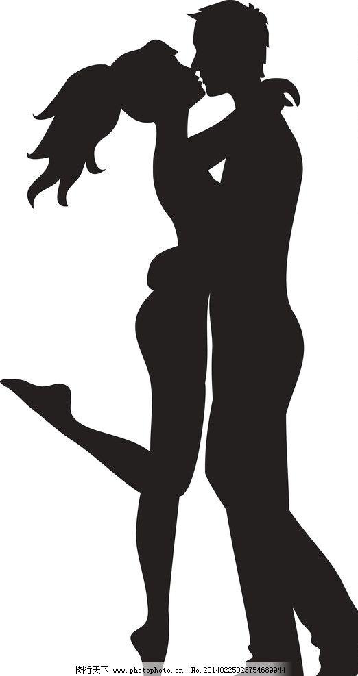 婚礼 新郎 新娘 新人 剪影 手绘 接吻 甜蜜 情侣 恋人 夫妻 婚纱 婚庆