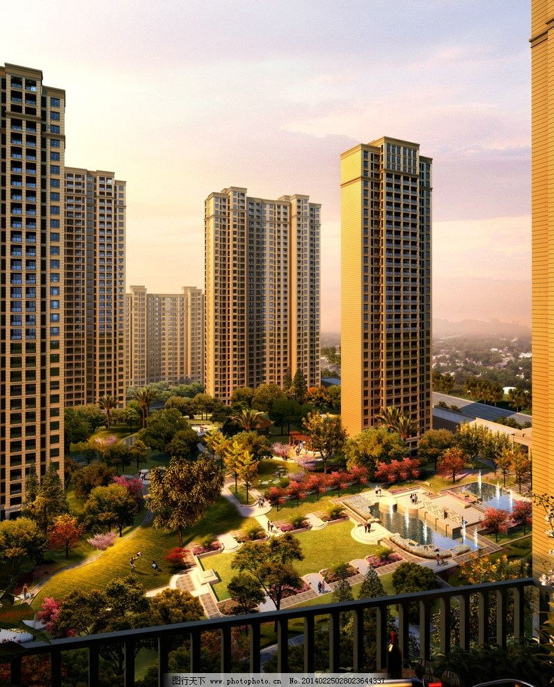 社区 效果图图片,小区 鸟瞰 景观 高层 住宅-图行天下