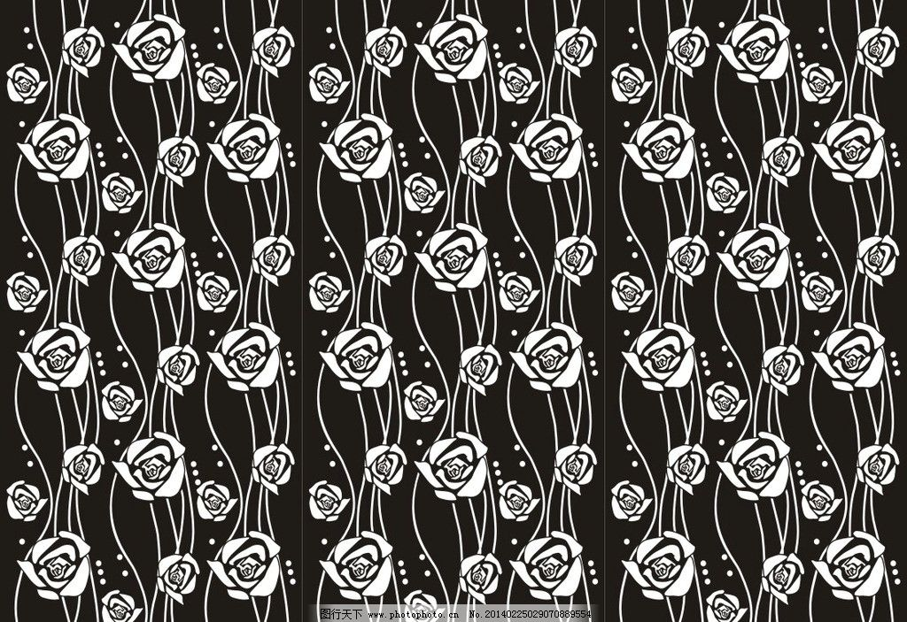 抽象玫瑰 曲线美 通花 欧式花纹 艺术玻璃 白描 线稿 工艺玻璃