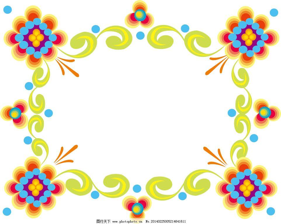 椭圆形花纹边框矢量图