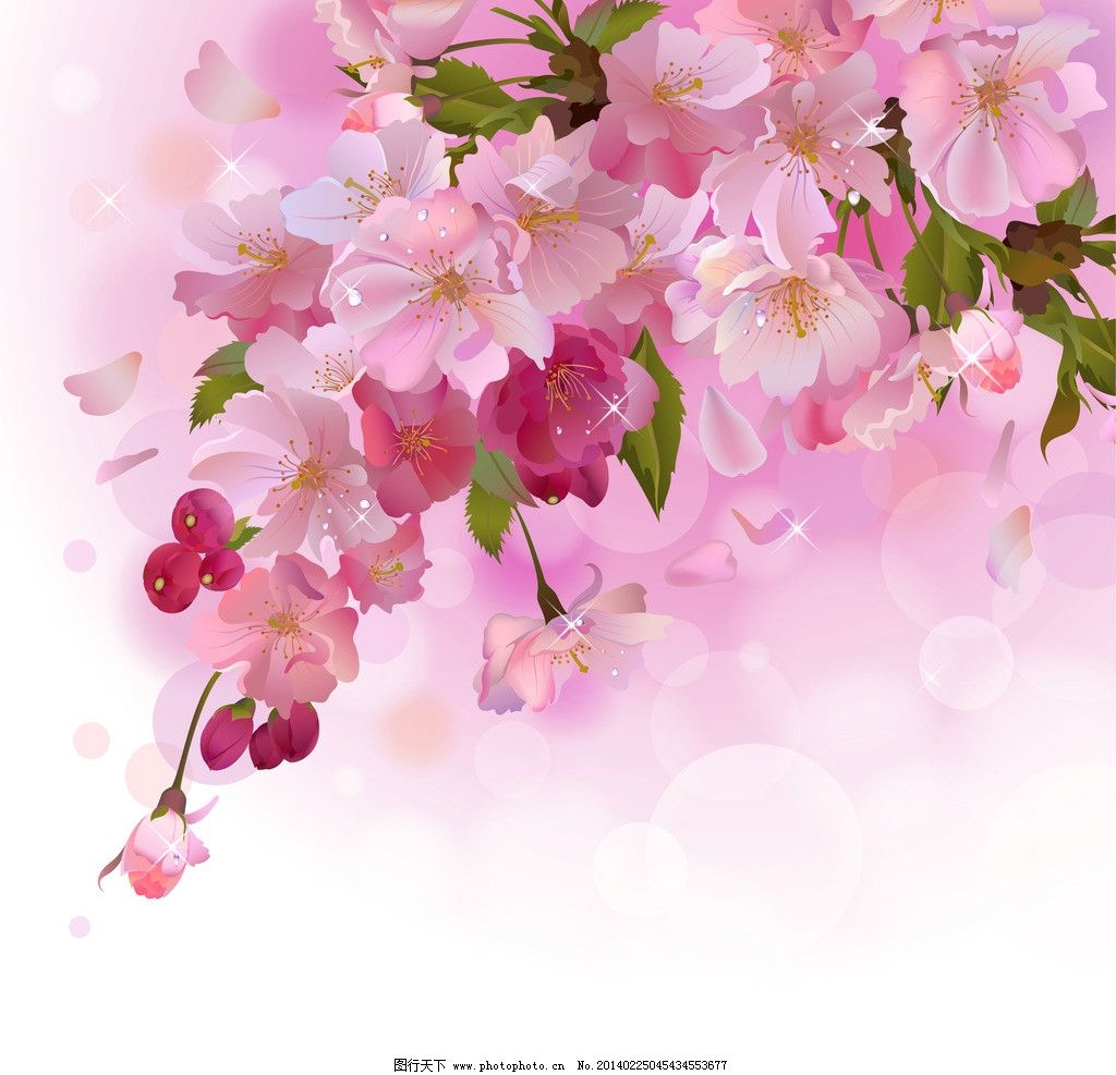 手绘花卉 绿叶 鲜花 桃花 花瓣 花草背景 生物世界 矢量