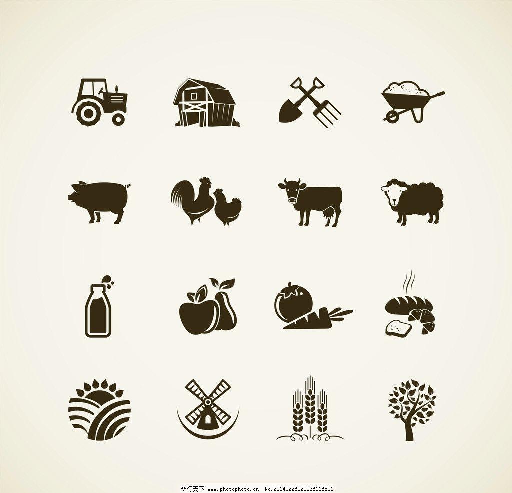 农场图标 农场徽章 农作物 绿色 家禽 生态 环保 欧式标签 标签