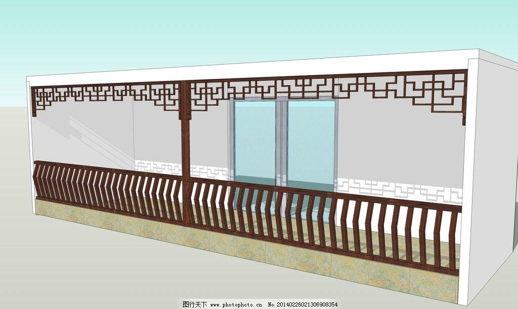 中式栏杆模型 中式木结构阳台 花窗木结构模型 挂落木结构模型 skp su图片