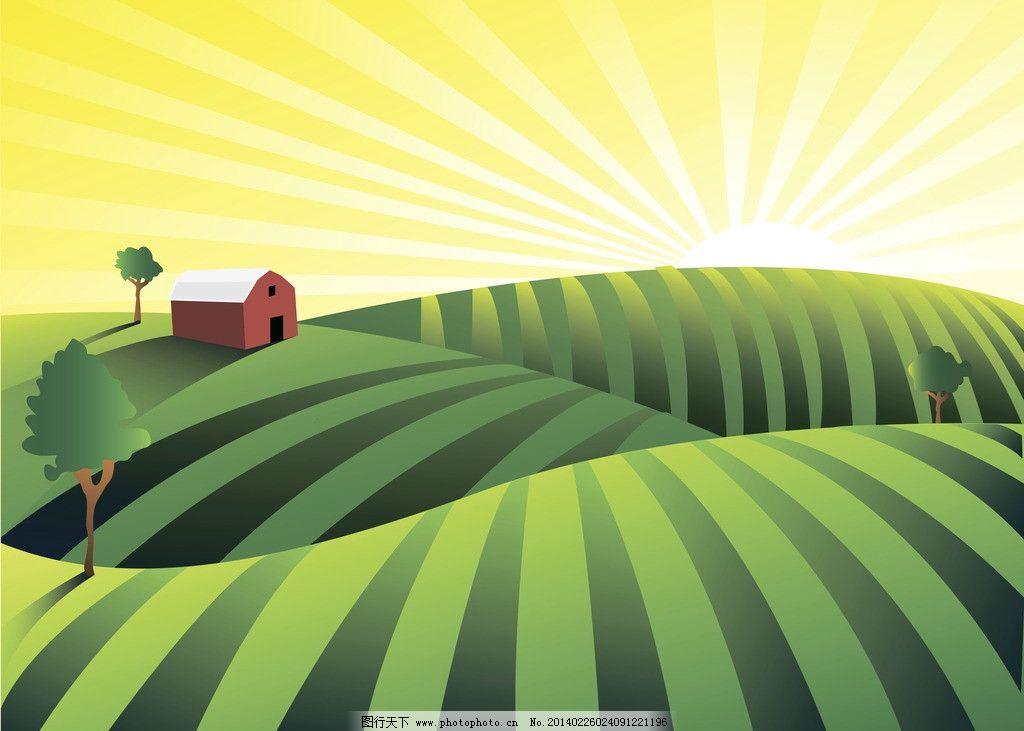 卡通农场风景 绿树 时尚 梦幻 插画 手绘 风光 背景 底纹 矢量