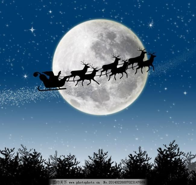 圣诞老人 麋鹿 雪撬 圣诞节 圣诞节素材 月亮 剪影 树木 夜空 星空