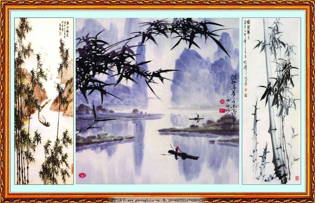 四君子 竹子 竹叶 船 划船 山水 国画 水墨 中式 中国风 边框 中堂画图片