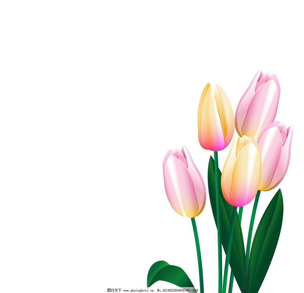 手绘花卉 绿叶 百合花 花纹花卉 鲜花 花草背景 生物世界 矢量