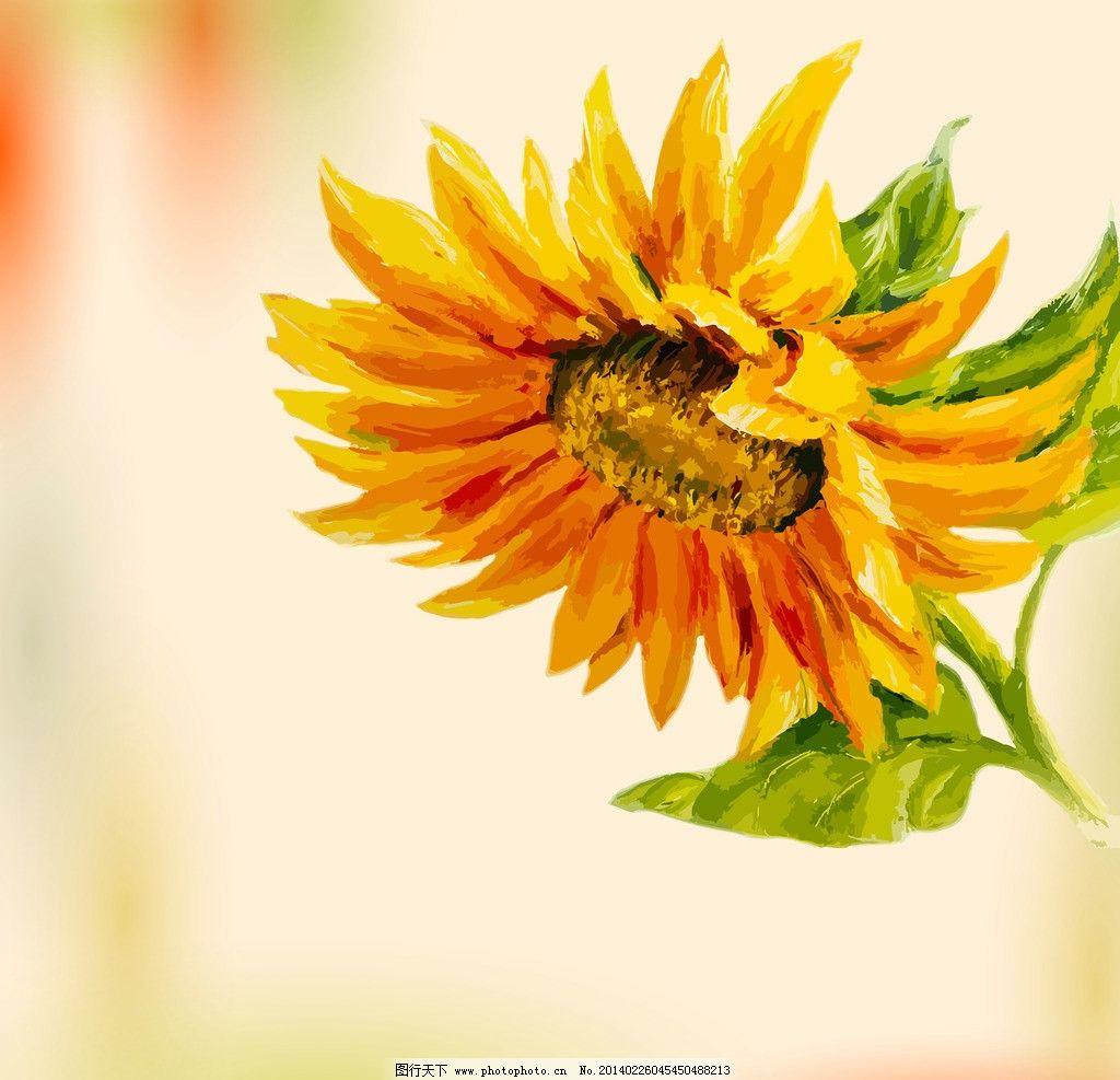 手绘花卉 花卉 绿叶 鲜花 向日葵 花瓣 花草背景 花草 生物世界 矢量