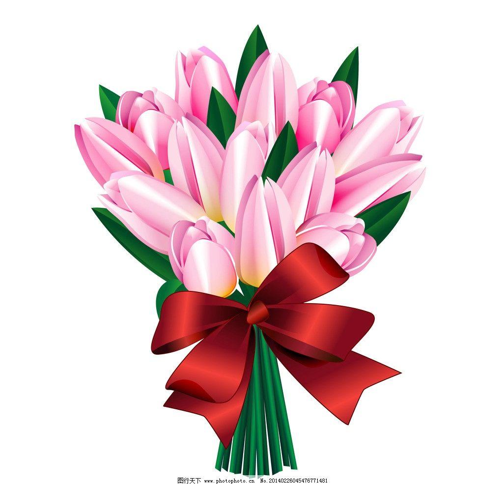手绘花卉 绿叶 百合花 蝴蝶结 红色丝带 花纹花卉 鲜花 花草背景