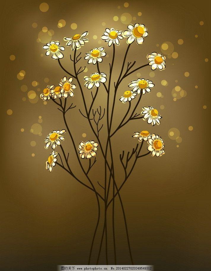 手绘鲜花 树枝 菊花 梅花 鲜花 花朵 花卉 手绘 古典花纹 古典花朵
