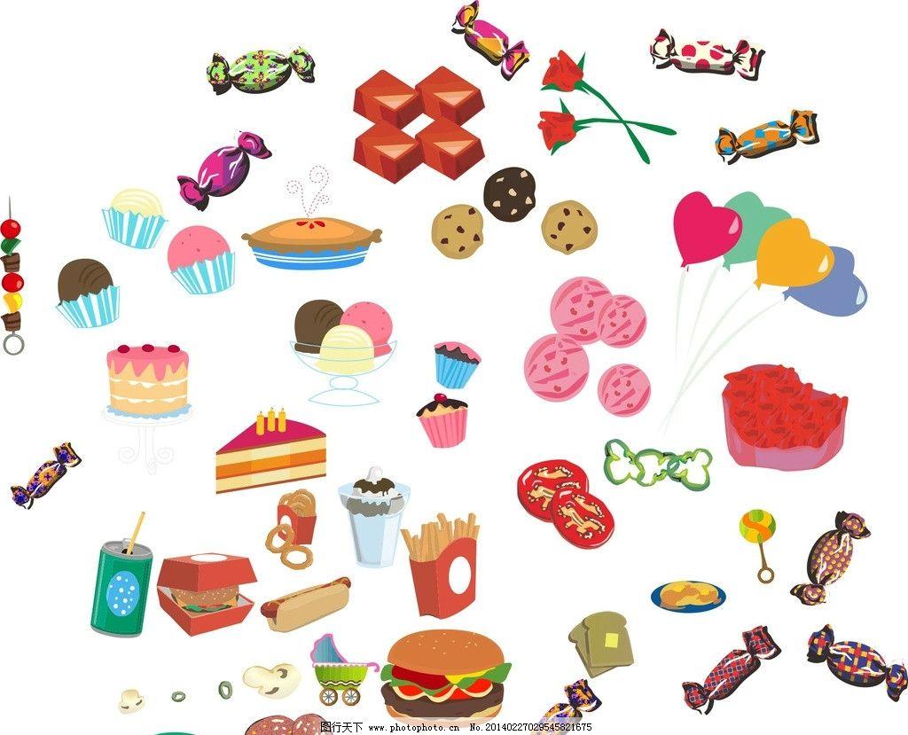 快餐 糖果 蛋糕图标图片