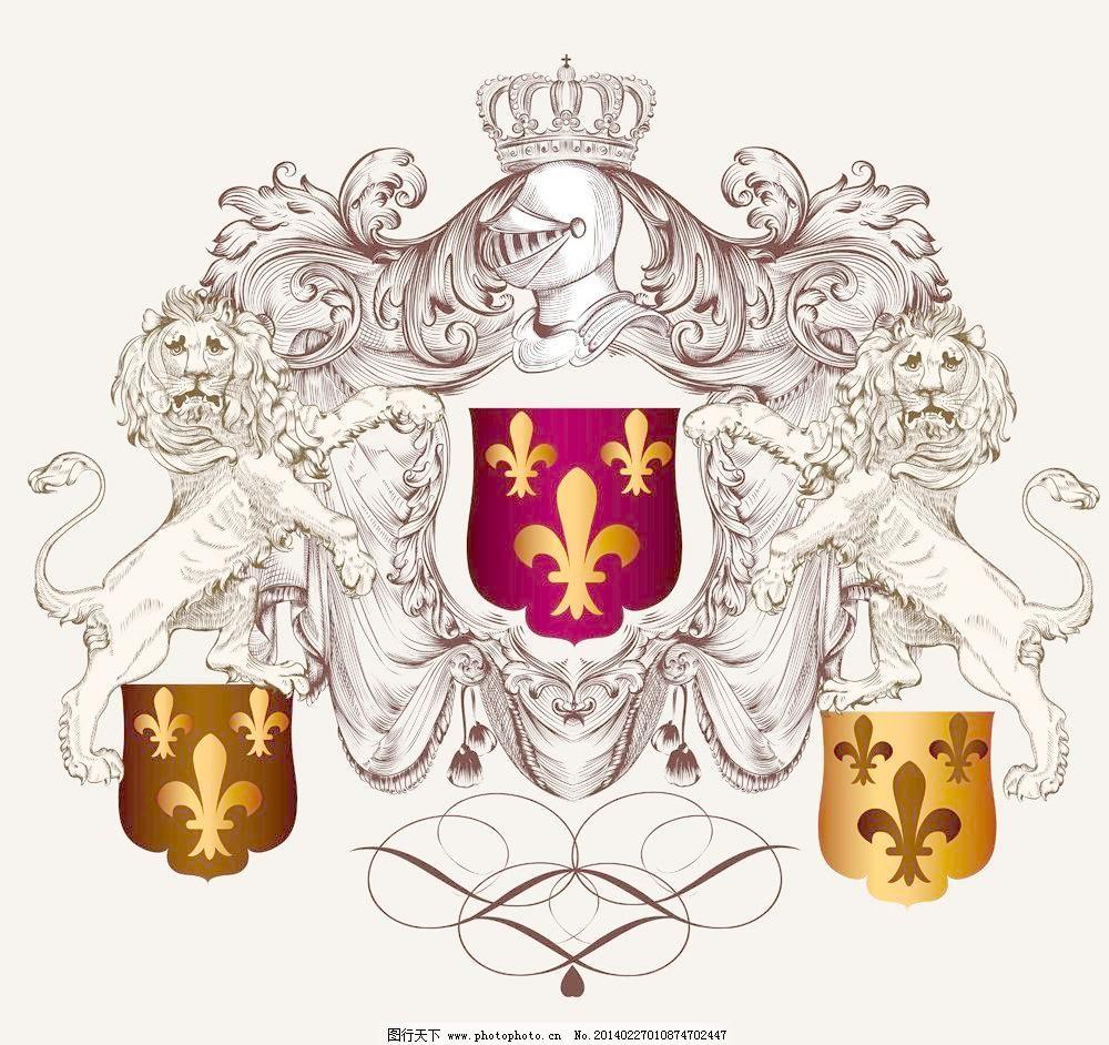 欧式花纹模板下载 欧式花纹 标签 狮子 欧式花纹背景 皇冠 盾牌 复古