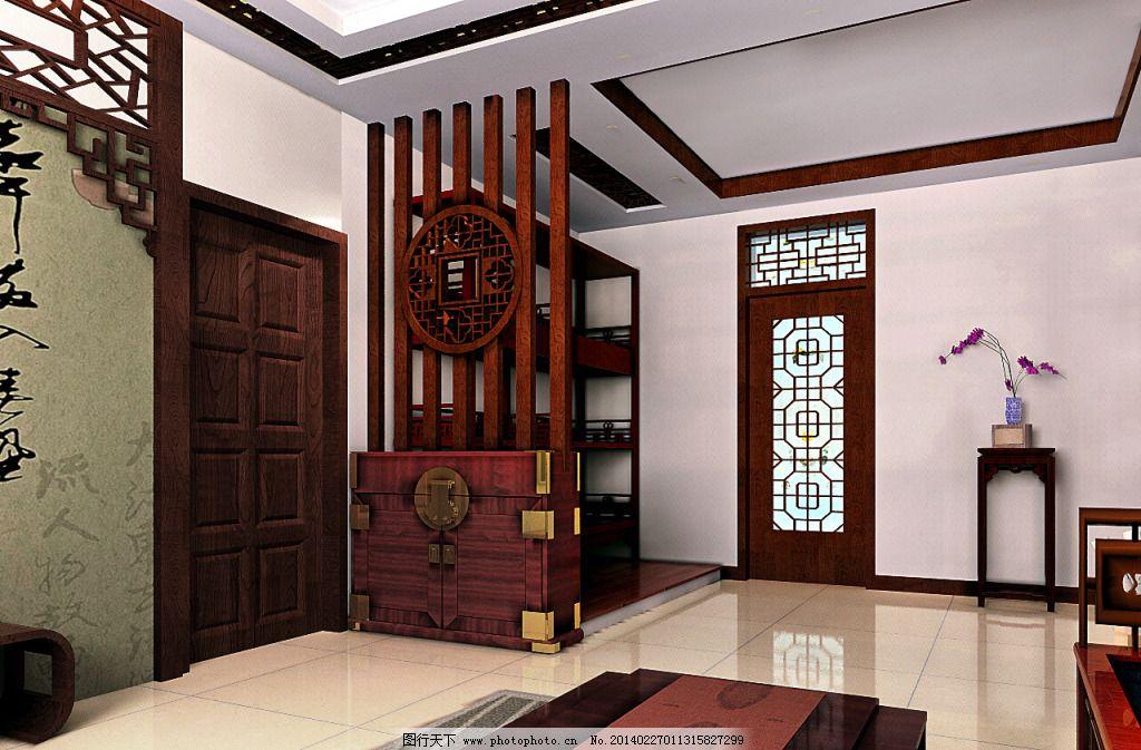 中式门厅免费下载 屏风 中式 中式屏风 中式 门厅设计 现代中式 中式