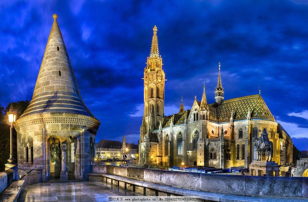 摄影图库 自然景观 建筑景观  巴黎圣母院 夜景 哥特式大教堂 古建筑